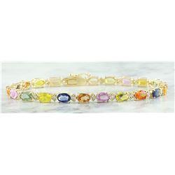 13.57 CTW Sapphire 14K Yellow Gold Diamond Ring