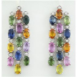 16.70 CTW sapphire 18K White Gold Diamond Earrings