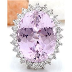 24.08 CTW Natural Kunzite 18K Solid White Gold Diamond Ring