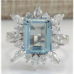 5.10 CTW Natural Blue Aquamarine And Diamond Ring In 18K White Gold