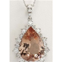 13.42 CTW Natural Morganite And Diamond Pendant In 14K Solid White Gold