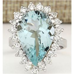8.62 CTW Natural Aquamarine And Diamond Ring In 18K Solid White Gold