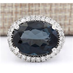 12.08 CTW Natural London Blue Topaz And Diamond Ring In18K Solid White Gold