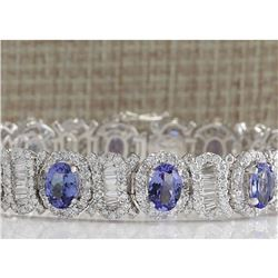 24.70 CTW Natural Tanzanite And Diamond Bracelet In 14K Solid White Gold