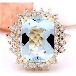 6.10 CTW Natural Aquamarine 14K Solid Yellow Gold Diamond Ring