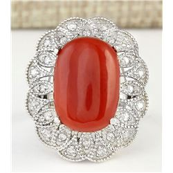 9.07 CTW Natural Coral And Diamond Ring In 18K White Gold