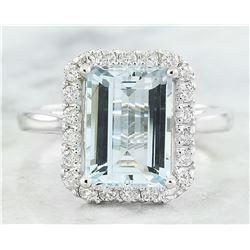 3.30 CTW Aquamarine 18K White Gold Diamond Ring