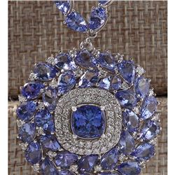 63.10 CTW Natural Tanzanite And Diamond Necklace In 14k White Gold