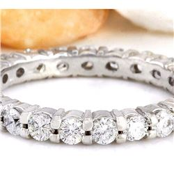 1.70 CTW Natural Diamond 18K Solid White Gold Ring