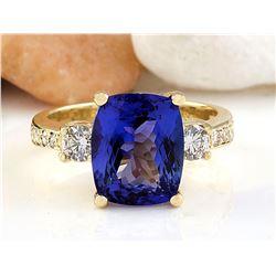 5.65 CTW Natural Tanzanite 14K Solid Yellow Gold Diamond Ring