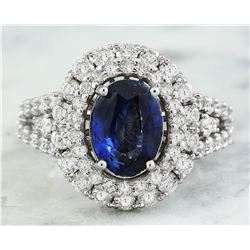 4.65 CTW Sapphire 18K White Gold Diamond Ring
