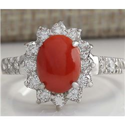 2.35 CTW Natural Red Coral And Diamond Ring 18K Solid White Gold