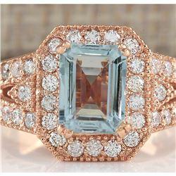 3.12 CTW Natural Blue Aquamarine Diamond Ring 14K Solid Rose Gold