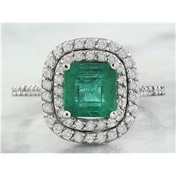 2.45 CTW Emerald 18K White Gold Diamond Ring