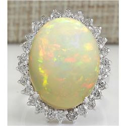 13.65 CTW Natural Ethiopian Opal And Diamond Ring In 14K Solid White Gold