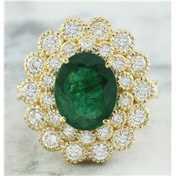 4.40 CTW Emerald 14K Yellow Gold Diamond Ring