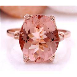 6.25 CTW Natural Morganite 18K Solid Rose Gold Diamond Ring