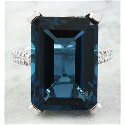 20.80 CTW Topaz 14K White Gold Diamond Ring