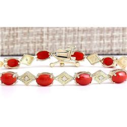 5.88 CTW Natural Coral And Diamond Bracelet In 18K Yellow Gold