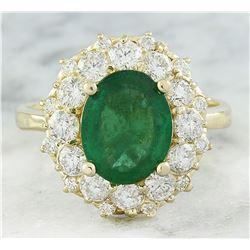 3.16 CTW Emerald 18K Yellow Gold Diamond Ring