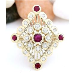 1.90 CTW Natural Ruby 14K Solid Yellow Gold Diamond Ring