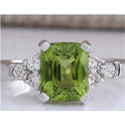 3.38 CTW Natural Green Peridot And Diamond Ring 18K Solid White Gold
