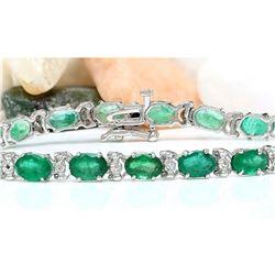 12.20 CTW Natural Emerald 14K Solid White Gold Diamond Bracelet