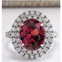 4.47 CTW Natural Pink Tourmaline And Diamond Ring 14K Solid White Gold