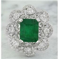 4.70 CTW Emerald 14K White Gold Diamond Ring