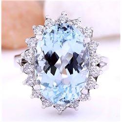 7.90 CTW Natural Aquamarine 14K Solid White Gold Diamond Ring