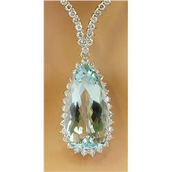 18.80 CTW Aquamarine 14K White Gold Diamond Necklace