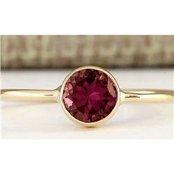 0.80 CTW Natural Pink Tourmaline Ring In 18K Yellow Gold