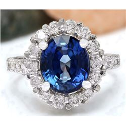 5.20 CTW Natural Ceylon Sapphire 18K Solid White Gold Diamond Ring