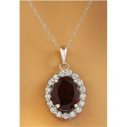 2.00 CTW Garnet 18K White Gold Diamond Necklace