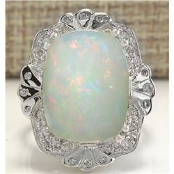 8.92 CTW Natural Opal And Diamond Ring In 18K Solid White Gold