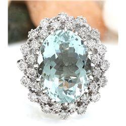 9.41 CTW Natural Aquamarine 14K Solid White Gold Diamond Ring