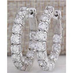 3.48CTW Natural Diamond Hoop Earrings 18K Solid White Gold