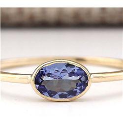 0.60 CTW Natural Blue Tanzanite Ring 14k Solid Yellow Gold