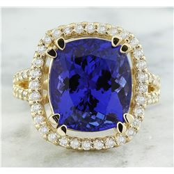 8.90 CTW Tanzanite 14K Yellow Gold Diamond Ring