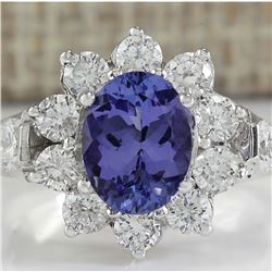 3.16 CTW Natural Tanzanite And Diamond Ring 14K Solid White Gold