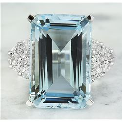 6.15 CTW Aquamarine 18K White Gold Diamond Ring