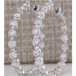 4.28 CTW Natural Diamond Hoop Earrings 14K Solid White Gold