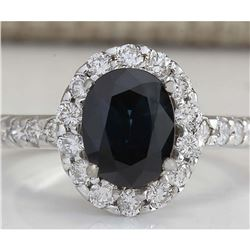 3.11 CTW Natural Blue Sapphire Diamond Ring 18K Solid White Gold