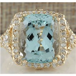 9.03 CTW Natural Blue Aquamarine And Diamond Ring 18K Solid Yellow Gold