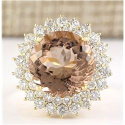11.51 CTW Natural Morganite And Diamond Ring In 18K Solid Yellow Gold