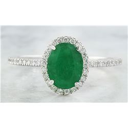 1.34 CTW Emerald 18K White Gold Diamond Ring