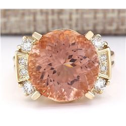 10.28 CTW Natural Morganite And Diamond Ring In 18K Solid Yellow Gold