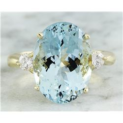 6.63 CTW Aquamarine 18K Yellow Gold Diamond Ring