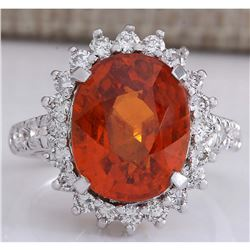 11.09 CTW Natural Mandarin Garnet And Diamond Ring In18K White Gold