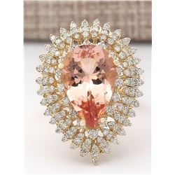 7.96 CTW Natural Morganite And Diamond Ring In 14k Solid Yellow Gold